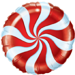 "18"" Red Candy Swirl Foil Balloon"